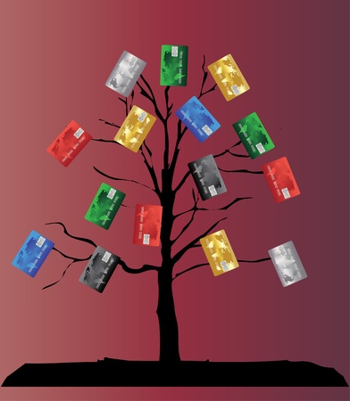 colorful credit cards tree Vector