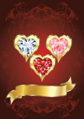 diamond hearts Vector