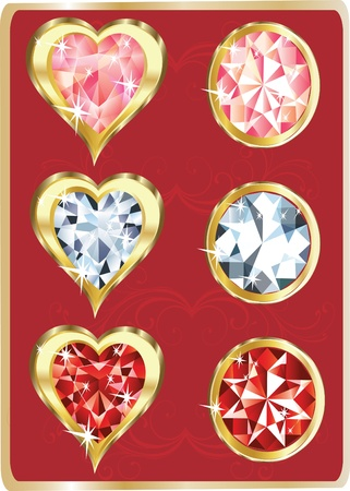diamonds and hearts Stock Vector - 13342602