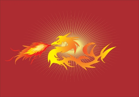 dragon on fire Vector