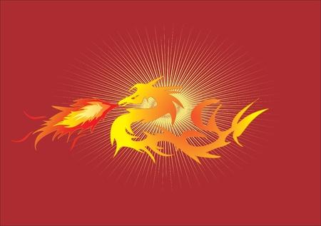 dragon rouge: dragon sur le feu