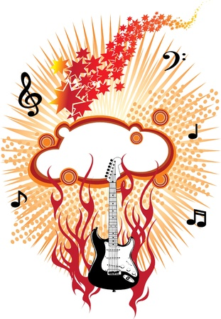 fire guitar Stock Vector - 13342601