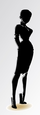 girl silhouette black Vector
