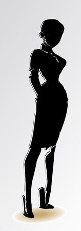 girl silhouette black Stock Vector - 13341737