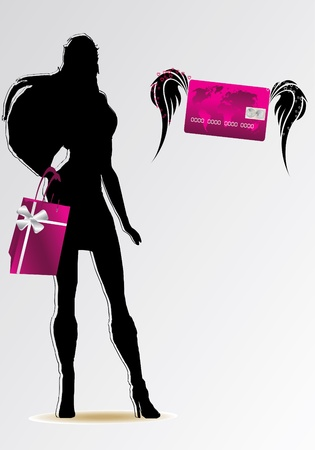 woman credit card: girl silhouette with pink credit card and bag Illustration