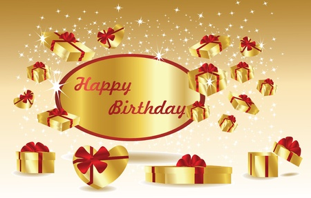 gold birthday card with gifts Vector