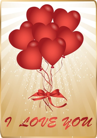 gold card with heart balloons Vector