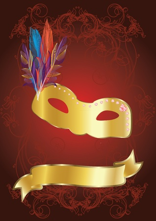 gold carnival mask on red background Vector