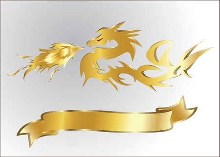 gold dragon isolated Vector