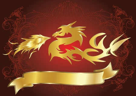 gold dragon on red background Vector