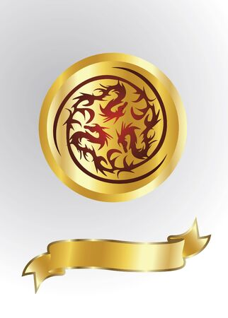 gold dragons isolated Vector