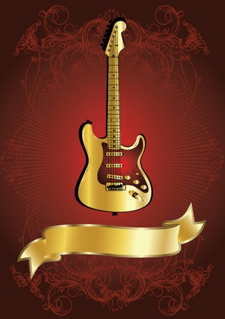 guitar illustration: gold guitar with golden ribbon
