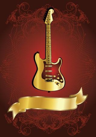 ruban noir: guitare d'or avec ruban dor�