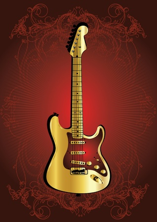 gold guitar Stock Vector - 12827825