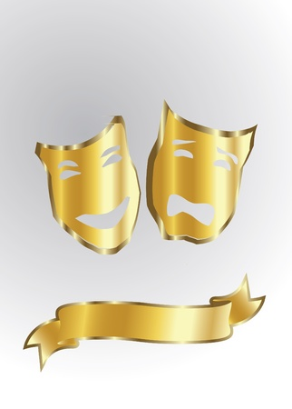 moods: gold masks in theatre isolated