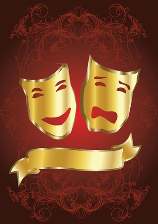 tragedy mask: gold masks in theater Illustration