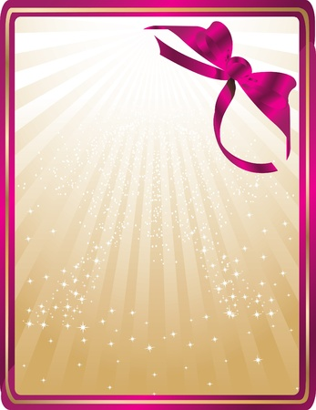golden card with pink ribbon Stock Vector - 12827809