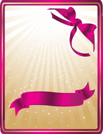 golden card with pink ribbons Stock Vector - 12827811