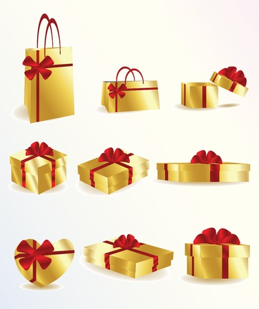gift giving: golden gifts Illustration