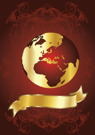 intercontinental: golden globe on red background Illustration