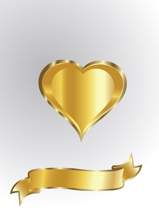 corazon con alas: de oro el coraz�n aislado Vectores