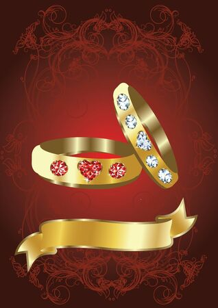 golden rings on red background Vector