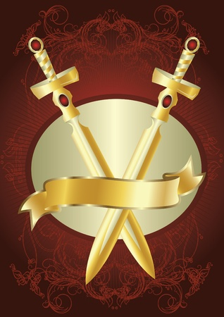 golden swords Vector