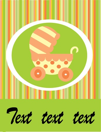 baby arrival: green baby carriage Illustration