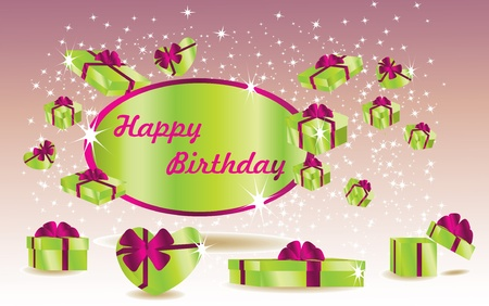 green birthday card with gifts Vector