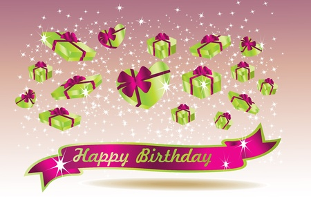 green birthday card with ribbon Vector