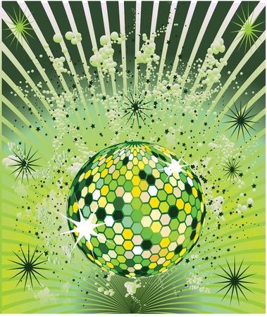 green splash disco ball Illustration