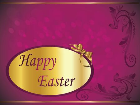 happy easter purple card Vector