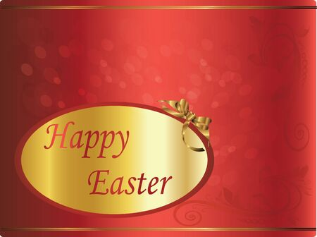 happy easter red card Vector