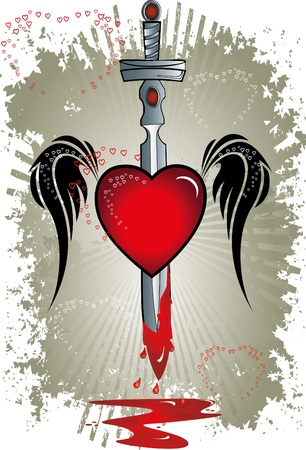 heart with wings: heart with sword