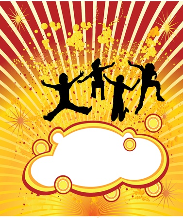 jumping people on yellow background Vector