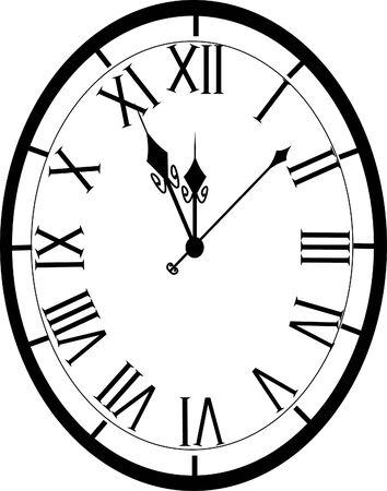 old fashion clock 5 until midnight Illustration