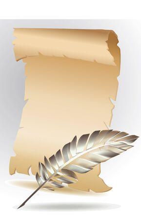 parchment paper: parchment paper with feather Illustration