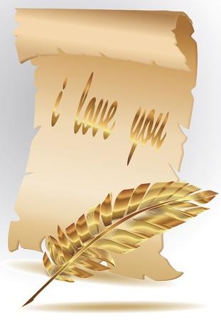 parchment paper: parchment paper with gold feather