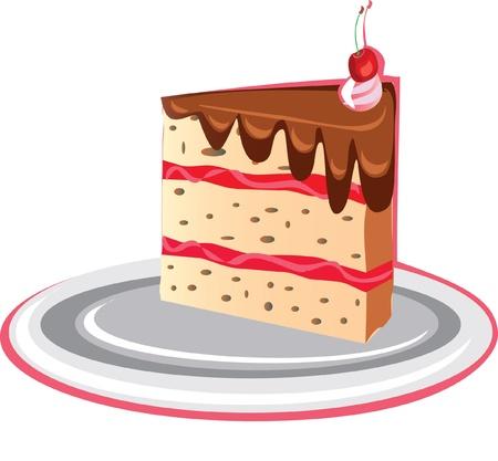 art piece: piece of chocolate cake isolated