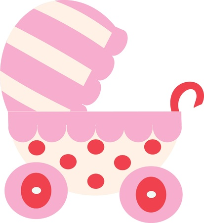 pink baby carriage isolated