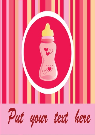 pink bottle with text Vector