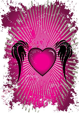 pink heart with wings pink background Vector