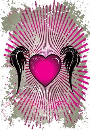 angelical: pink heart with wings silver background Illustration