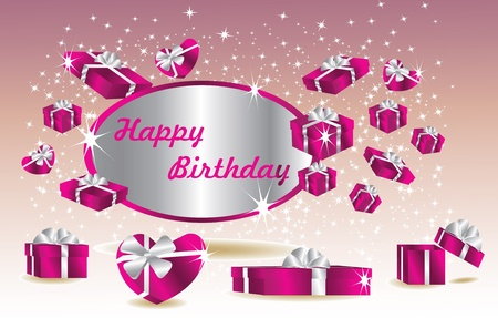 purple birthday card with gifts Vector