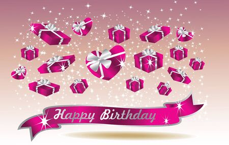 purple birthday card with ribbon Vector