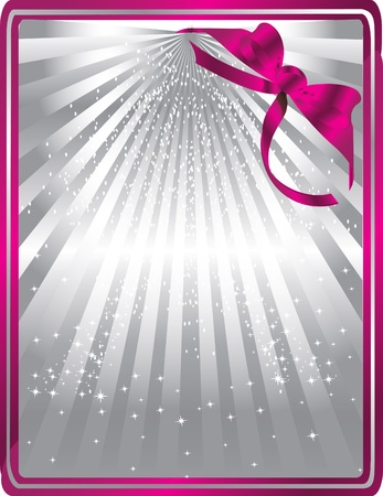 silver card with pink ribbon Stock Vector - 13372334