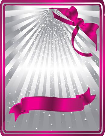 silver card with pink ribbons Vector