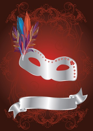 silver carnival mask on red background Vector