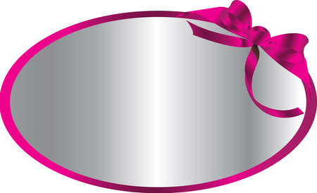 silver circular card with pink ribbon Stock Vector - 13372299