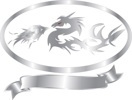 silver dragon isolated Vector